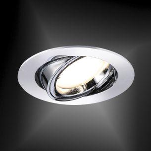LED- Einbaustrahler in Chrom - 35° schwenkbar - inklusive 5,5 Watt LED - 4-stufig dimmbar - Einbautiefe 35 mm - Ø 8,2 cm