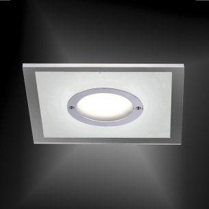 LED- Einbaustrahler in Chrom - inklusive 5,5 Watt LED - 4-stufig dimmbar - Einbautiefe 35 mm - 13 x 13 cm