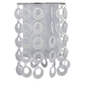 Dekorativer Lampenschirm - Chrom und Holz -  Durchmesser 26 cm - Höhe 32 cm - Weiß