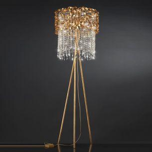 Luxuriöse Stehleuchte als Dreibein - Blattgold - Kristallbehang - Für Leuchtmittel 6 x E14 40 Watt
