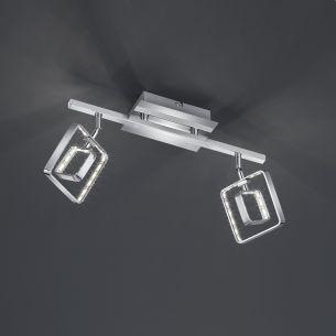 Moderner 2-flammiger LED- Deckenstrahler mit eckigen Leuchtschirmen - Chrom - inklusive 2x 4,5 Watt LED