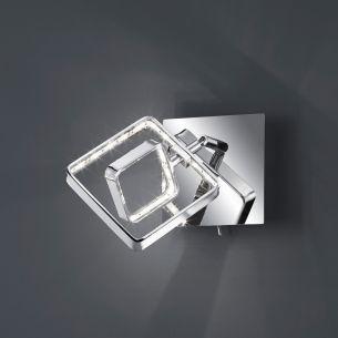 Moderner 1-flammiger LED-Wandstrahler mit eckigem Leuchtschirm - Chrom - inklusive 1x 4,5 Watt LED