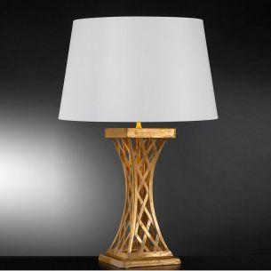Elegante Tischleuchte - Blattgold Weiß patiniert mit Stofflampenschirm in Weiß - Höhe 80 cm