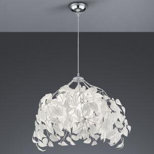 Moderne Pendelleuchte aus Chrom mit schmuckvollen Blättern aus weißem Kunststoff - 2 Größen