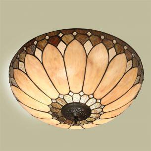 Tiffany-Deckenleuchte - Messing-antik - Lampenschirm in Braun-Beige-Tönen