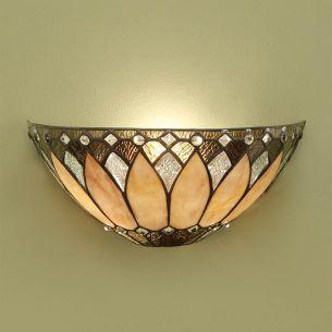 Tiffany-Wandleuchte - Messing-antik - Lampenschirm in Braun-Beige-Tönen