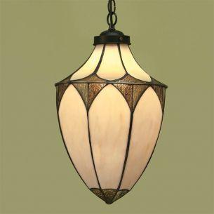Tiffany-Pendelleuchte - Laternenform - 2 Größen - Messing-antik - Lampenschirm in Braun-Beige-Tönen