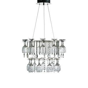 Extravagante LED Pendelleuchte - Chrom - Glas - Kristallgehänge - Inklusive Leuchtmittel LED 12 Watt 960 Lumen