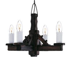 Kronleuchter Rustic aus dunklem Holz handgefertigt 4-flammig