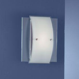 1-flammige Wandleuchte mit satiniertem und klarem Glas - verschiedene Leuchtmittel-Varianten wählbar - Breite 20cm