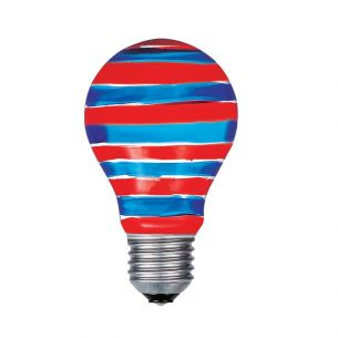 A60 AGL  E27 40W rot/blau Quer gestreift, Glühbirne, Glühlampe, Leuchtmittel