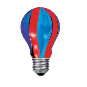 Glühlampe, Glühbirne, AGL E27 40W rot/blau Längs gestreift