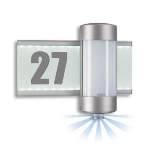 Hausnummernleuchte mit LED beleuchteter Glasscheibe, für 2x40W G9