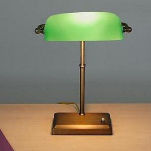 Bankhaus Lampe - Bankerleuchte - Bankerlamp- mit Smaragd grünem Glas - dimmbar