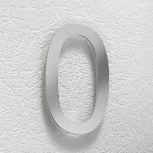 Hausnummer 0 aus Edelstahl, klein