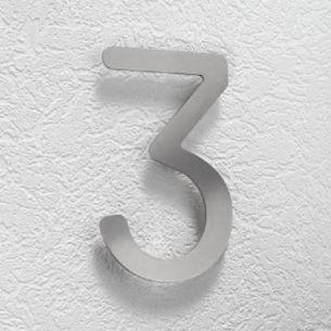 Hausnummer 3 aus Edelstahl, klein 3