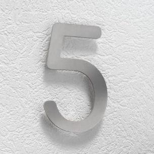 Hausnummer 5 aus Edelstahl, klein 5