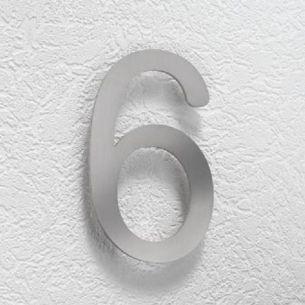 Hausnummer 6 aus Edelstahl, klein