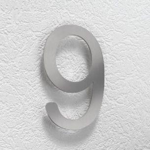 Hausnummer 9 aus Edelstahl, klein 9