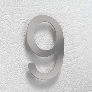 Hausnummer 9 aus Edelstahl, klein
