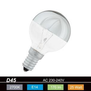 D45, E14 kopfverspiegelt silber 25 Watt