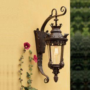 Hochwertige Außen-Wandleuchte in Patina-Lackierung - handgeschmiedet und reich verziert - Höhe 80cm