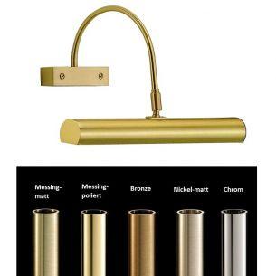 Bilderleuchte aus massiven Messing in Messing poliert, Messing-matt, Bronze, Nickel-matt oder Chrom - Breite 30cm