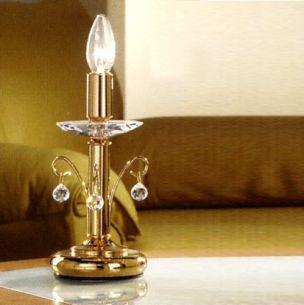 Tischleuchte, meisterliche Handarbeit , 24 Karat vergoldet mit hochwertigen Vollschliff-Kristall-Applikationen