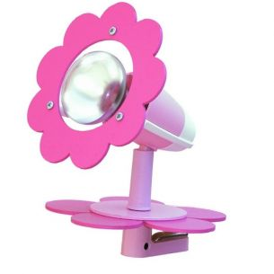Niedliche Klemmleuchte fürs Kinderzimmer mit zarter rosafarbenen Blüte