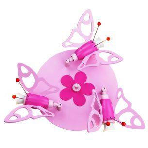 Süße 3-flammige Kinderlampe mit 3D-Faltern in rosa