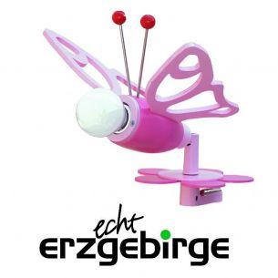 Niedliche Klemmleuchte für Mädchen - mit kleinem rosafarbenem Falter