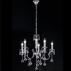 Krone Diamant, klare Glasprismen , 60 cm, 5 flammig