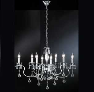 Krone Diamant, klare Glasprismen , oval, 8 flammig, exklusive Leuchtmittel