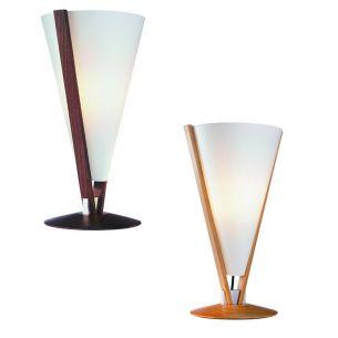 Formschöne Tischleuchte mit abwischbarem Lunopalschirm - in 2 Holzausführungen erhältlich