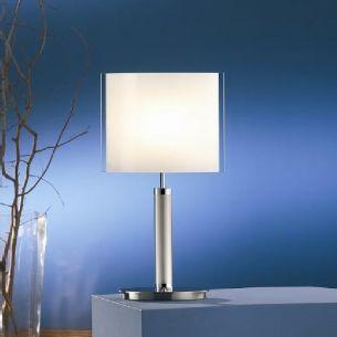 B+M Tischleuchte massives Messing nickel-matt mit Opalglas, Höhe 33cm