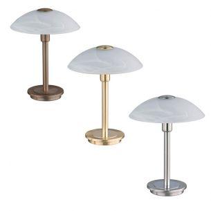 Tischleuchte mit Touchdimmer, Alabasterglas, in 3 Oberflächenfarben lieferbar