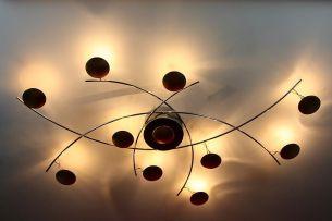 10-flammige Deckenleuchte in Chrom mit Blattgold verziert -- inkl. Leuchtmittel