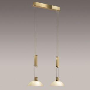B+M 2-flammige Zugpendelleuchte - Messing-poliert / matt, Glas bernstein - höhenverstellbar - Breite 79cm