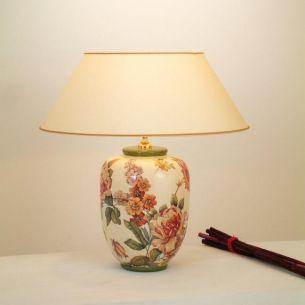 Hockerleuchte Englische Rose, Handbemalte farbenreiche Vasenleuchte