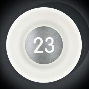 Hausnummern-Wandleuchte Blo aus Opalglas und Edelstahl