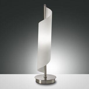 Tischlampe mit spiralförmigem Glas, Nickel-matt