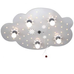 Kinderdeckenleuchte XL-Wolke in silber, Sternenhimmelfunktion