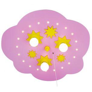 Rosa Sternchenwolke mit gelben Sternchen und LED Sternenhimmelfunktion - 35 cm 3x 40 Watt, 35,00 cm