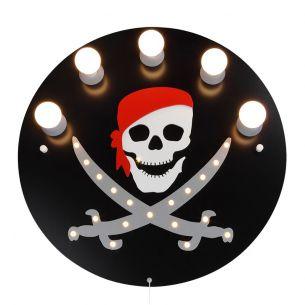 Hochwertige Deckenleuchte - Piraten-Totenkopf in schwarz - inklusive 20 LEDs