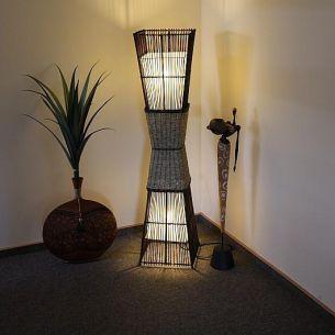 Bamboo Afrika-Look-Stehleuchte aus Rattan und Bastgeflecht, echte Handarbeit