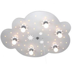Kinderdeckenleuchte - XXL-Wolke in silber - mit LEDs weiß Sternenhimmelfunktion - mit Serienschaltung