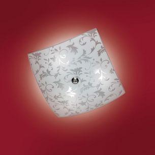 Deckenleuchte mit gewölbtem Glas, 40x40cm, mit schönen Ornamenten