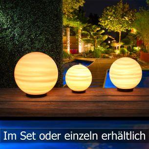 Kugelleuchten - als 3er Set - 20cm, 25cm und 30cm oder einzeln bestellbar - inklusive Leuchtmittel orange/rot- für tolle optische Effekte
