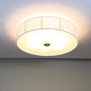 Runde Deckenleuchte mit weißem Organzastoff bezogen, D=45,5cm