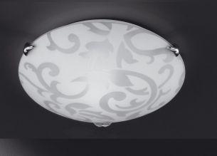 Deckenleuchte Ornamentik mit zarter Ornamentik aus Glas   1x60Watt   30cm
